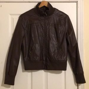 A brown faux leather jacket in great condition!